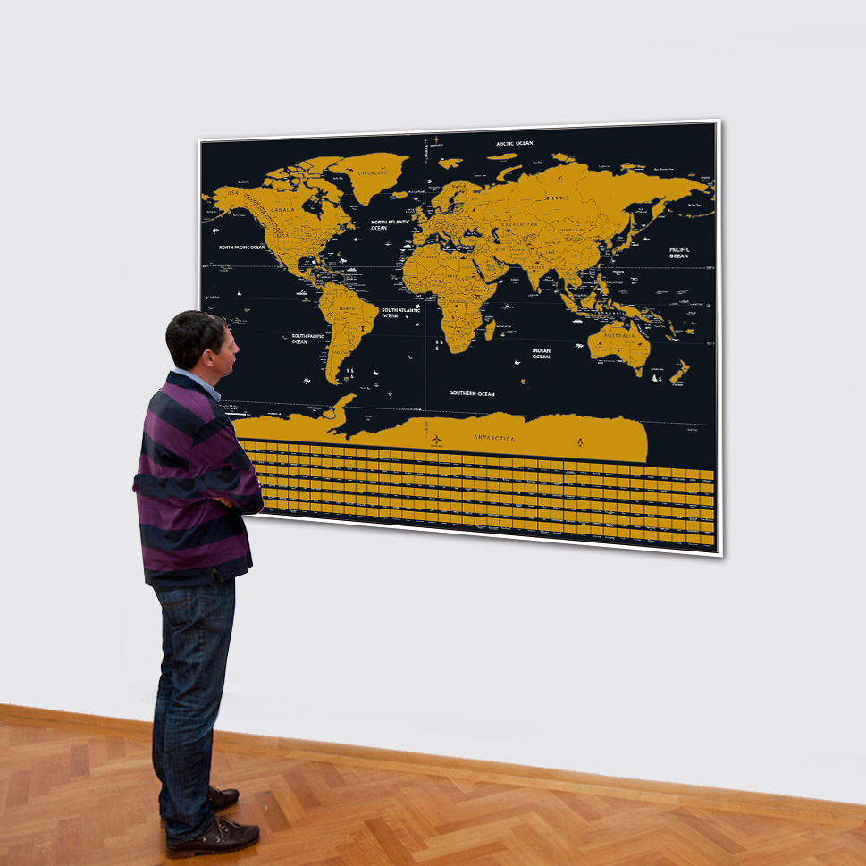 Travel Scratchable World Map Size 20x28inch Added Bonus Traveller Adventure Maps Easy To Scratch Best Personalised Gift