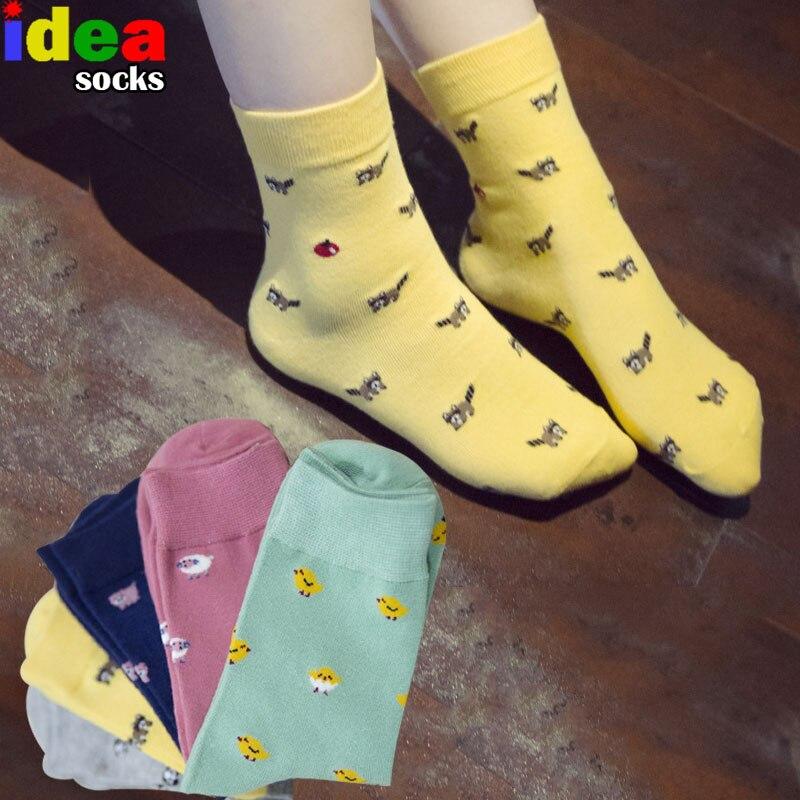 new Women Summer Cartoon Sheep pig puppy dog chicken socks lovely panda cotton in tube socks Cute funny animal socks 5 colors