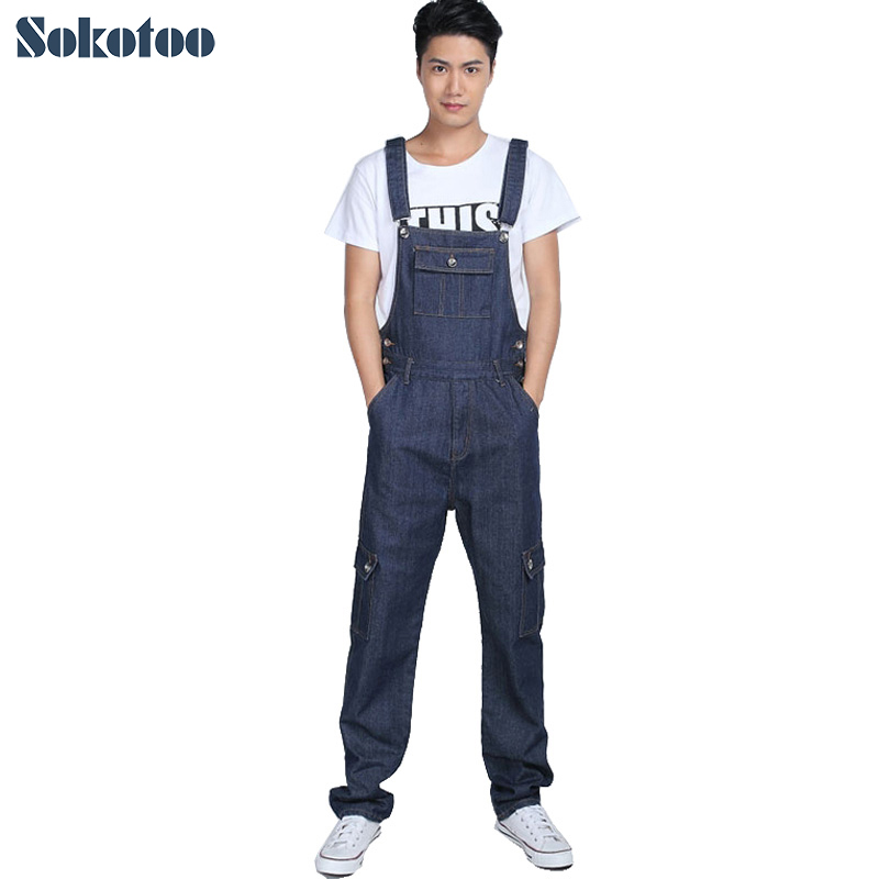 Sokotoo Men's fashion pocket denim overalls for boys Male casual loose jumpsuits Plus large size jeans Bib pants fashion casual loose denim overalls men large size 46 cargo pants male jeans jumpsuits spring vintage sexy denim trousers 062909