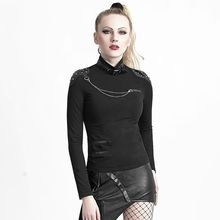 PUNK Slim Women high collar Skull t-shirt Rock black gothic women shirts