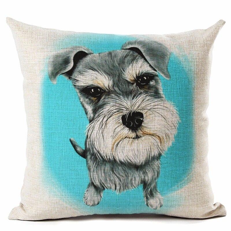 패션 스타일 귀여운 강아지 린넨 코 튼 스퀘어 홈 장식 홈웨어 베개 쿠션 Cojines Almohadas를 던져 인쇄