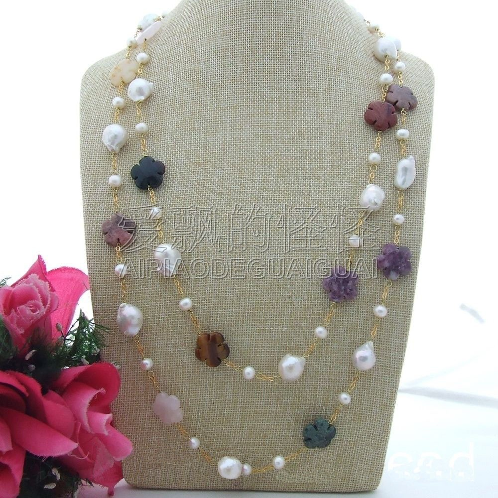 N092306 60 ''13x18 MM blanc Keshi perle collier de fleurs