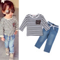 2017 New  Fashion Autumn Baby Girls Clothing Sets Long Sleeve Stripe T-shirt+ Denim Trousers 2pcs Children Clothing Suit