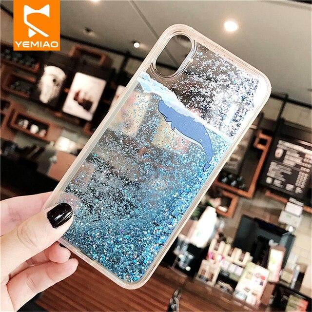 Caso Caixa Do Telefone Para o iphone X XS Max XR líquido Glitter Lantejoula Azul Hard Cover PC Para o iphone 7 8 além de 6 6 S Casos Mais Bonito da Baleia