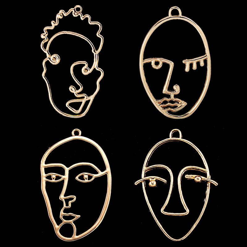 Trendy Gold Color Alloy Abstractive Human Face Contour Design Pendant Charms For Necklace Bracelet DIY Making 10pcs ...