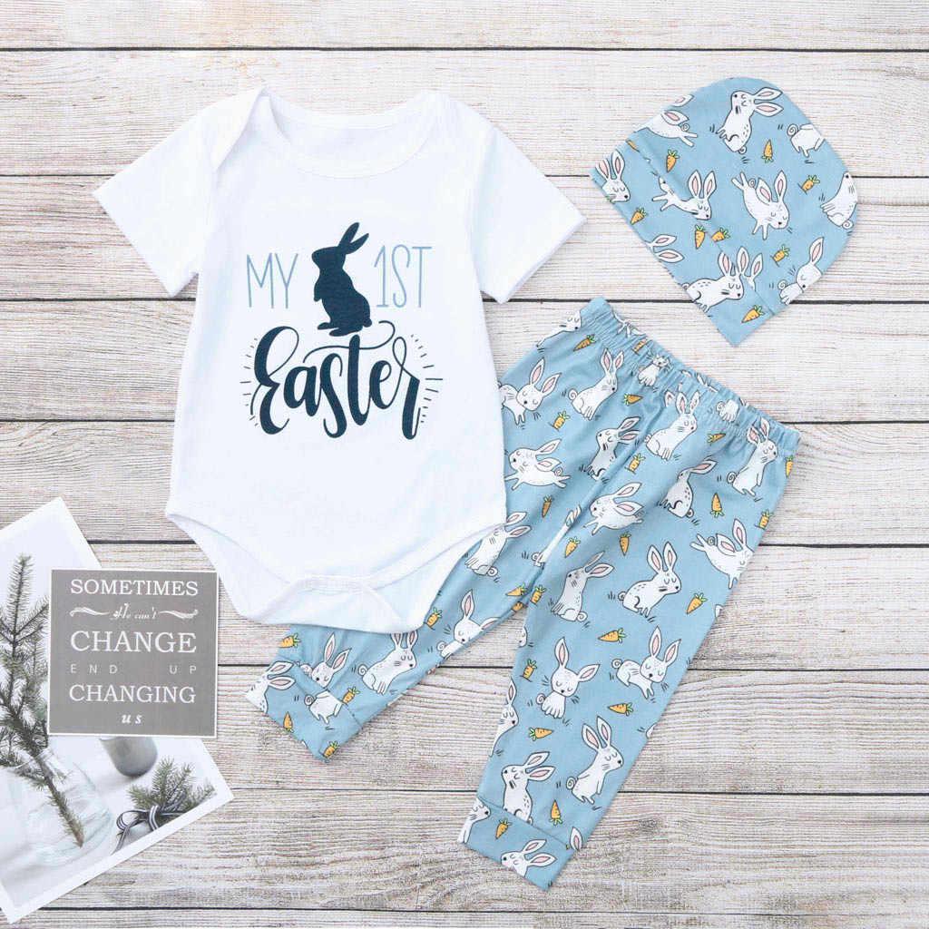 3 uds recién nacido verano 2019 ropa de bebé niña niño moda letra impresa camiseta + Pantalones + sombrero bebé niña niño conjunto ropa infantil bebé