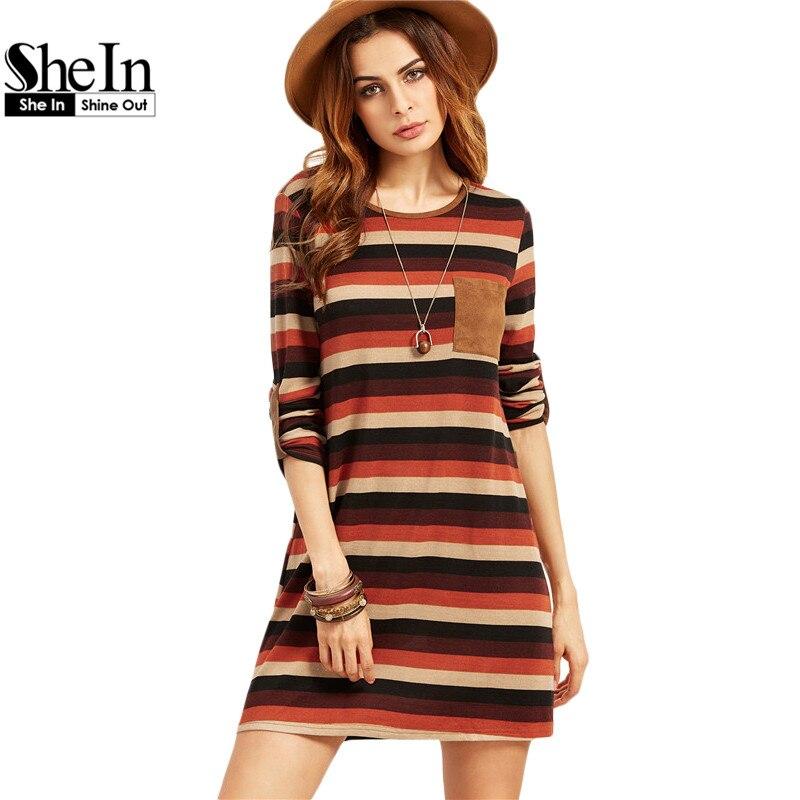 SheIn Shift Vestidos Casuales Para Mujer Otoño Ladies Multicolor A Rayas de Cuel