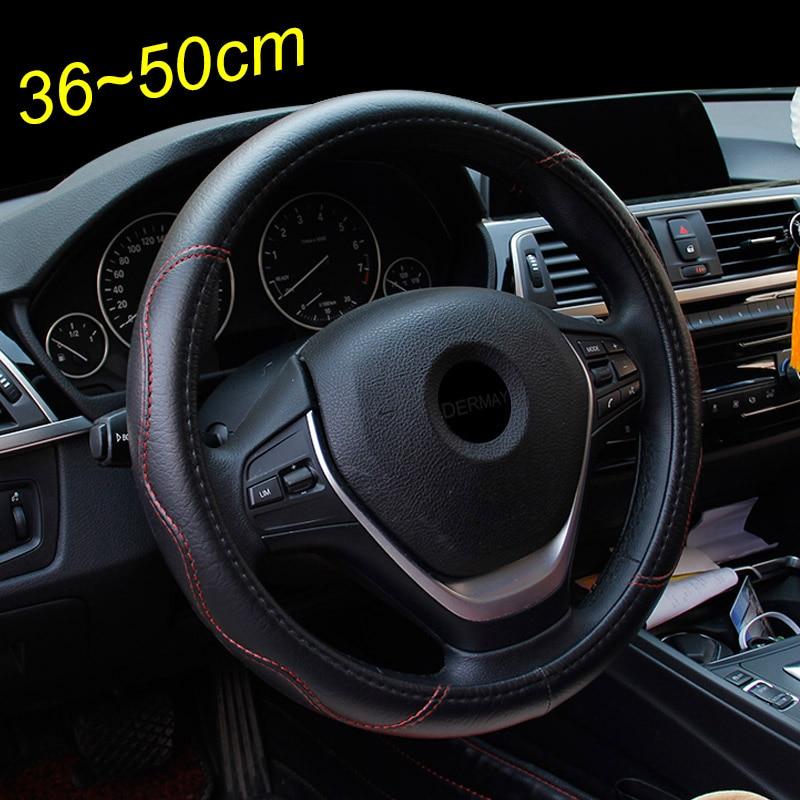 Capa para volante de carro, tamanho grande, couro pu, tampa de volante, para carros diferentes, 36, 38, 40, 42, 45 e 47 50cm para ônibus do tronco