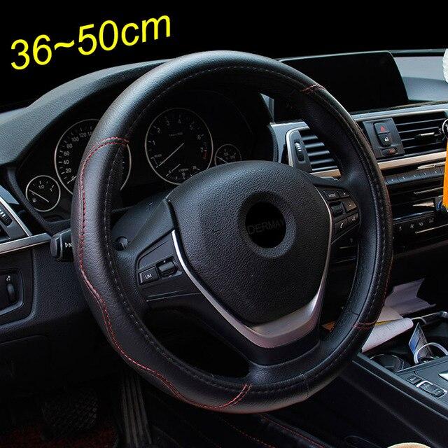 Wielkoformatowa skórzana osłona na kierownicę do samochodu plus piasty kół do różnych samochodów 36 38 40 42 45 47 50cm do bagażnika