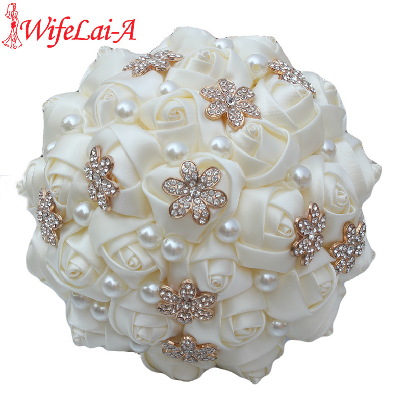 WifeLai-A 1 pieza Casual Marfil Crema Flor de oro Broche Ramo Dama de honor Artificial Rose Wedding Bouquet W242 Personalizado
