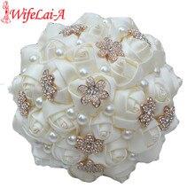 WifeLai-A 1Piece Casual Ivory Cream Gold Flower Brooch Bouquet Bridesmaid Bridal Artificial Rose Wedding Bouquet W242 Customized
