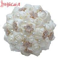 WifeLai-Một 1 Mảnh Casual Ngà Vàng Kem Flower Bouquet Brooch Bridesmaid Bridal Nhân Tạo Rose Wedding Bouquet W242 Tùy Chỉnh