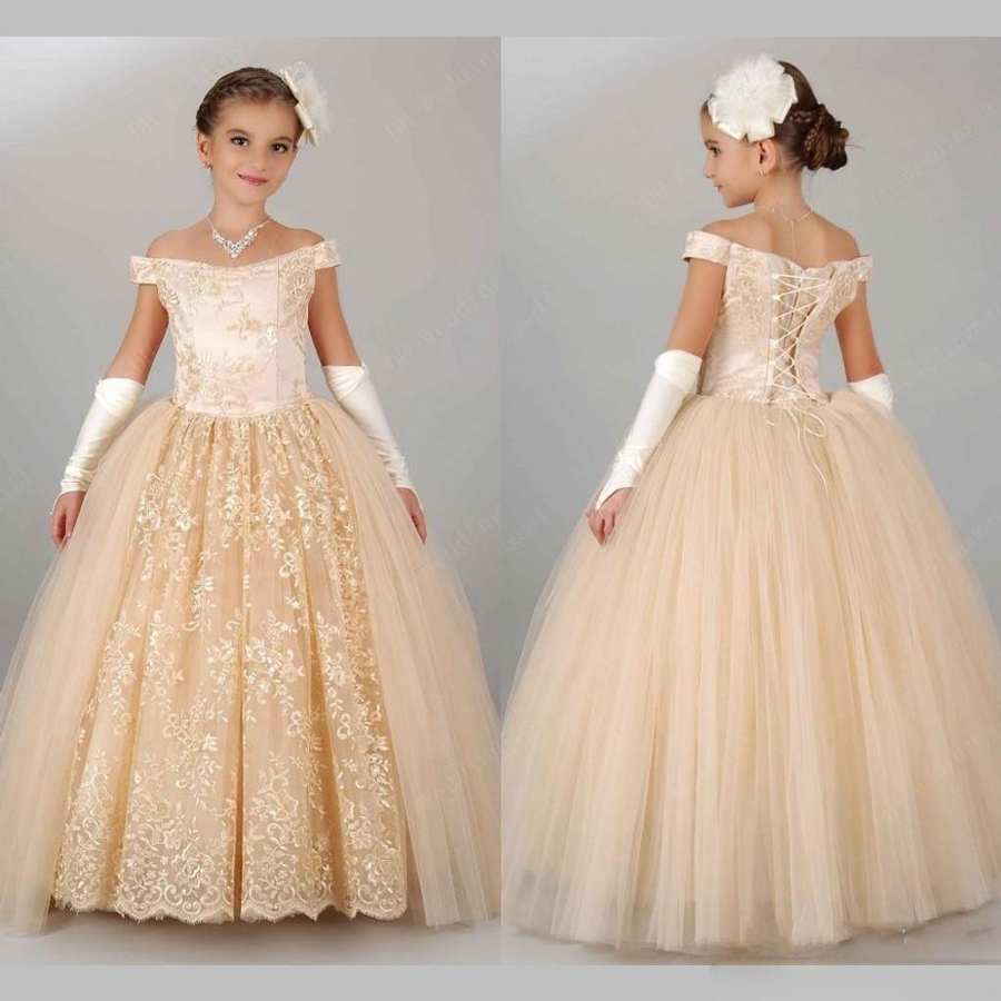 eeb00f3d2f5 Vintage Champagne Pageant Dresses for Girls 2017 Off Shoulder Ball Gown  Flower Girl Dresses for Weddings Lace Up Floor Length-in Flower Girl Dresses  from ...