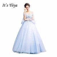 It S YiiYa Blue New Boat Neck Wedding Gowns Flower Pattern Handmade Appliques Charming Vesyidos De
