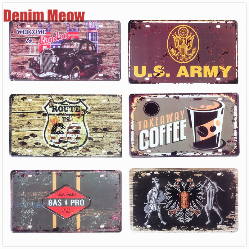 USA FBI 007 Vintage Car Metal License Plates Bar Pub Decoration London Utah Signs Motorcycle Garage Home Decor Plaque 30*15cm