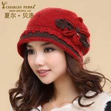 Charles Perra Women Hats Winter Thicken Double Layer Thermal Knitted Hat Handmade Elegant Lady Casual Wool Cap Beanies NEW 3543 winter hat 2016 new lady korean hat fashion cashmere knitted hat thicken double button other ear cap hats for women patchwork