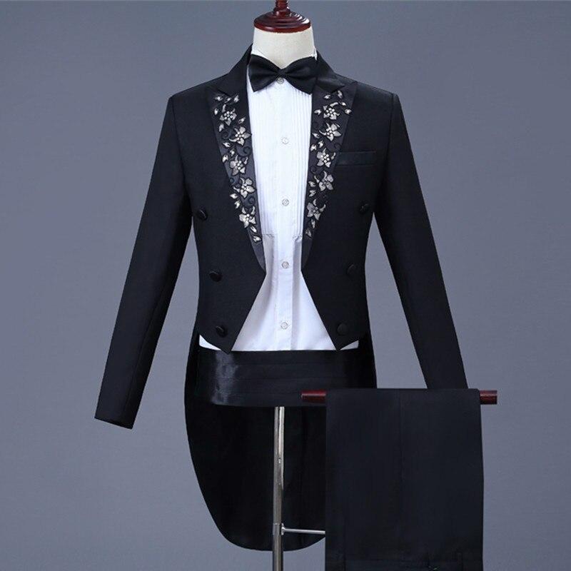 Costumes pour hommes magicien Swallowtail Costume noir broderie Tailcoat bal hôte chanteur Chorus performance vêtements robes de mariée