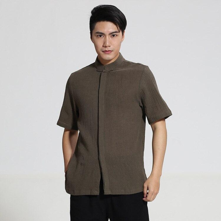 2018 New Summer Chinese Male Stand Collar Dress Shirt Men Cotton Linen Kung Fu Tai Chi Performance Clothing M L XL XXL XXXL