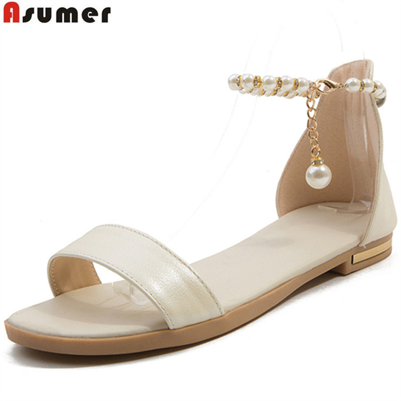 ASUMER black beige fashion summer new 2018 shoes woman casual comfortable sandals women genuine leather shoes plus size 33-46 summer shoes woman handmade genuine leather soft sandals casual comfortable women shoes 2017 new fashion women sandals