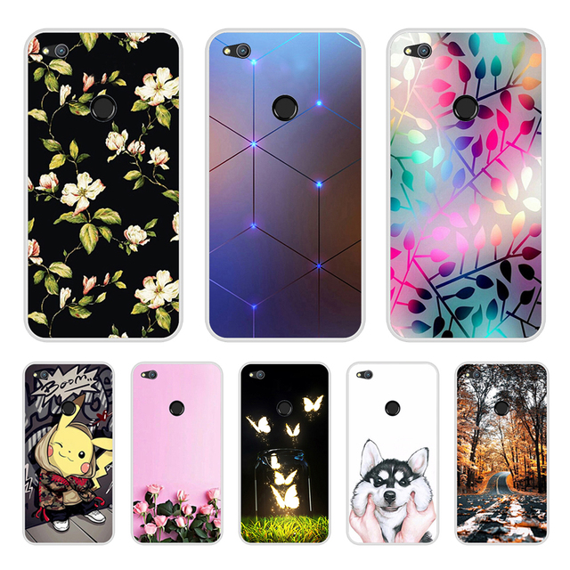 """Huawei P9 Lite 2017 Cover Case 5.2"""" P8 Lite 2017 Phone Case Silicone Huawei Honor 8 Lite Cases Flowers Pattern Funda"""
