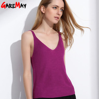 GAREMAY Tank Tops Women Summer Sexy Knitted Top V Neck Canotta Donna Cami Casual Cropped Halter