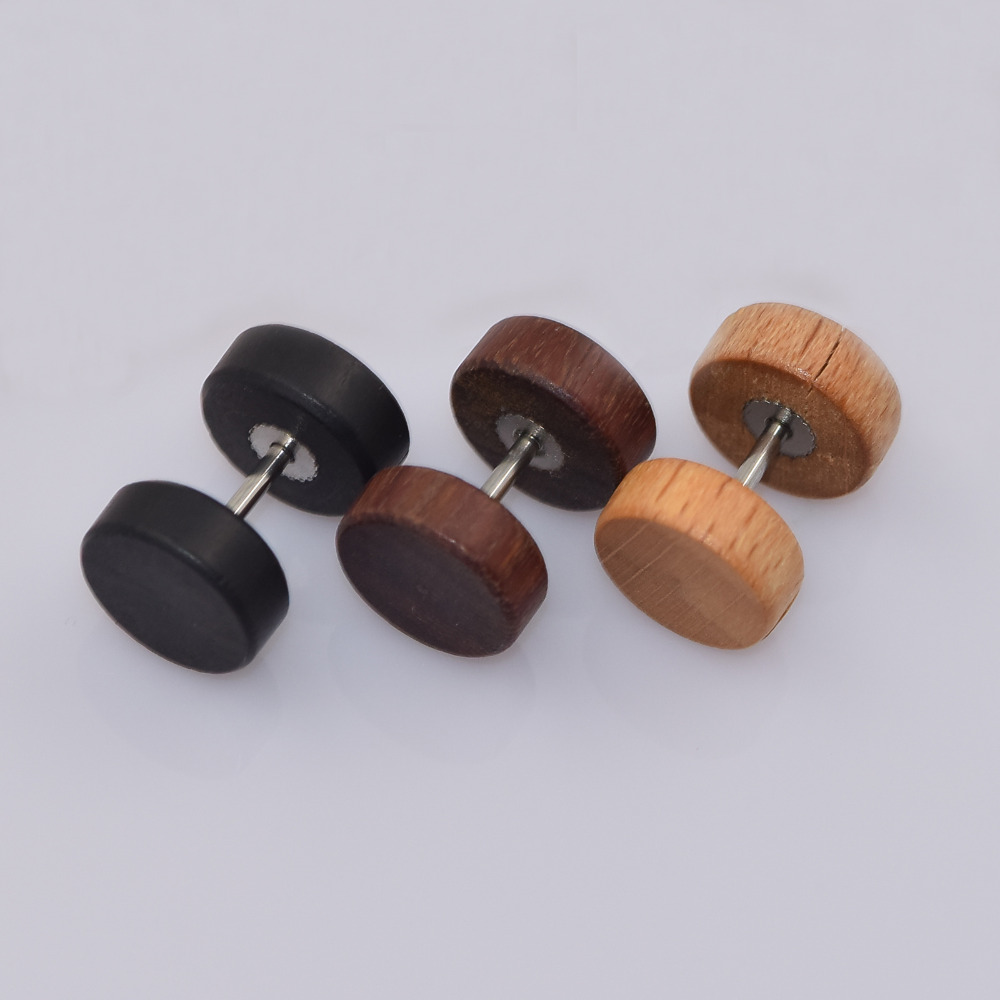 buy free shipping 1 pair natural wood fake illusion ear pierces plugs earrings. Black Bedroom Furniture Sets. Home Design Ideas