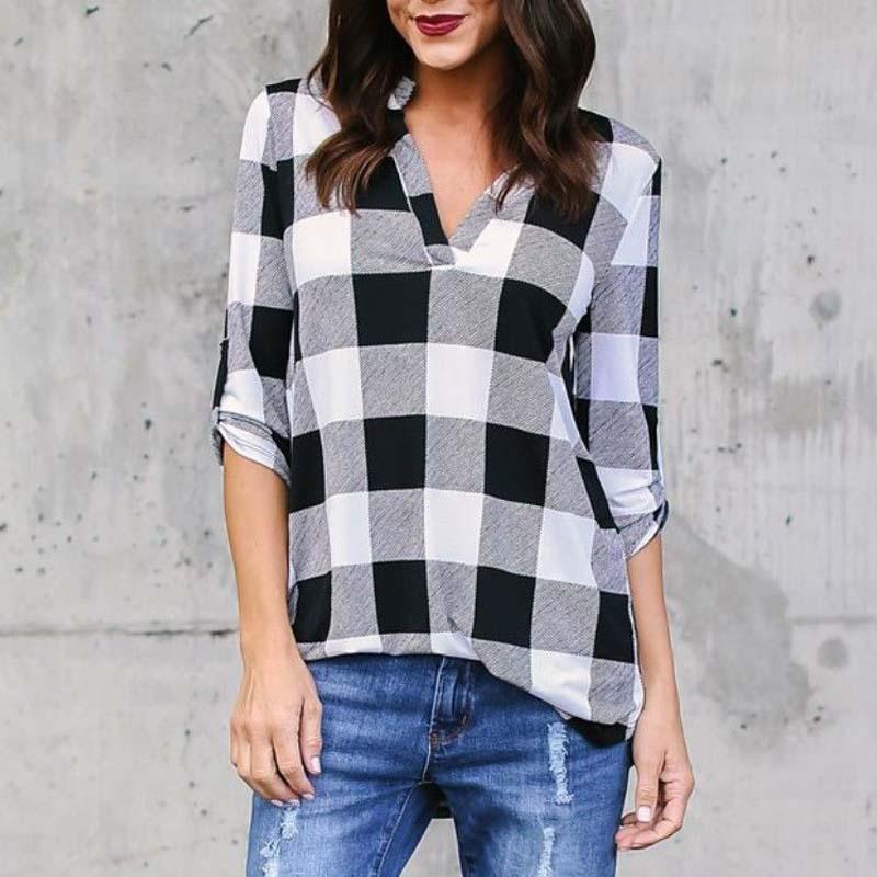 Stylish Check Plaid Clash Color Blouse Foldable Long Sleeve V Neck Pullover Shirt Top Female Autumn Leisure Casual Basic Blusas