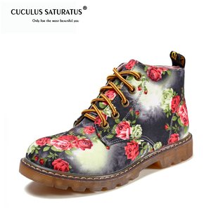 Image 1 - Cuculus סתיו נשים קרסול מגפי נמוך עקבים פרח דירות נעליים יומיומיות אישה אוקספורד השרוכים נעלי אופנוע בתוספת גודל 40 1416