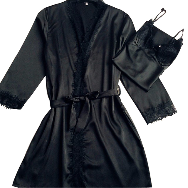 Black 2PC Women s New Lace Robes Sets Gown Pajamas With Belt Bathrobes Long  Sleeve Sleepwear Brand fdc47b632