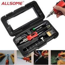 ALLSOME 10 в 1 сварочный комплект, фонарь, профессиональный бутановый Газовый паяльник, паяльные инструменты HT1380