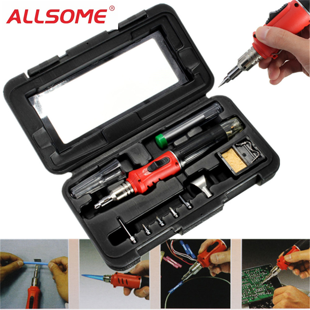 ALLSOME HS-1115K 10 In 1 Welding Kit Blow Torch Professional Butane Gas Solder Iron Soldering Tools HT1380