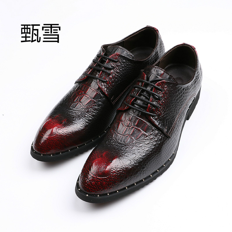 New Men's Business Shoes, Retro Personality Shoes Leather, rich connotation  Classic personality new men s business casual leather stage shoes silver retro leather dating personality shoes