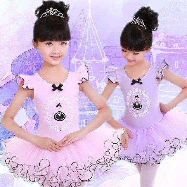 e0f09c7809ac Pink Purple Cotton Ballet Dance Dress Children Tutu Skirt Ballet ...