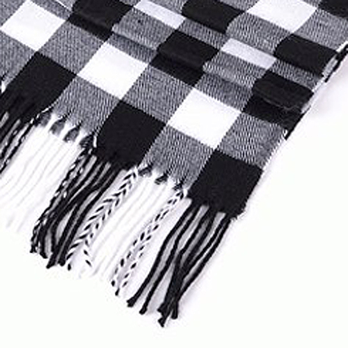 NEW Classical Black & White Checked Stripe Print Tassel Decorated Scarf For Men
