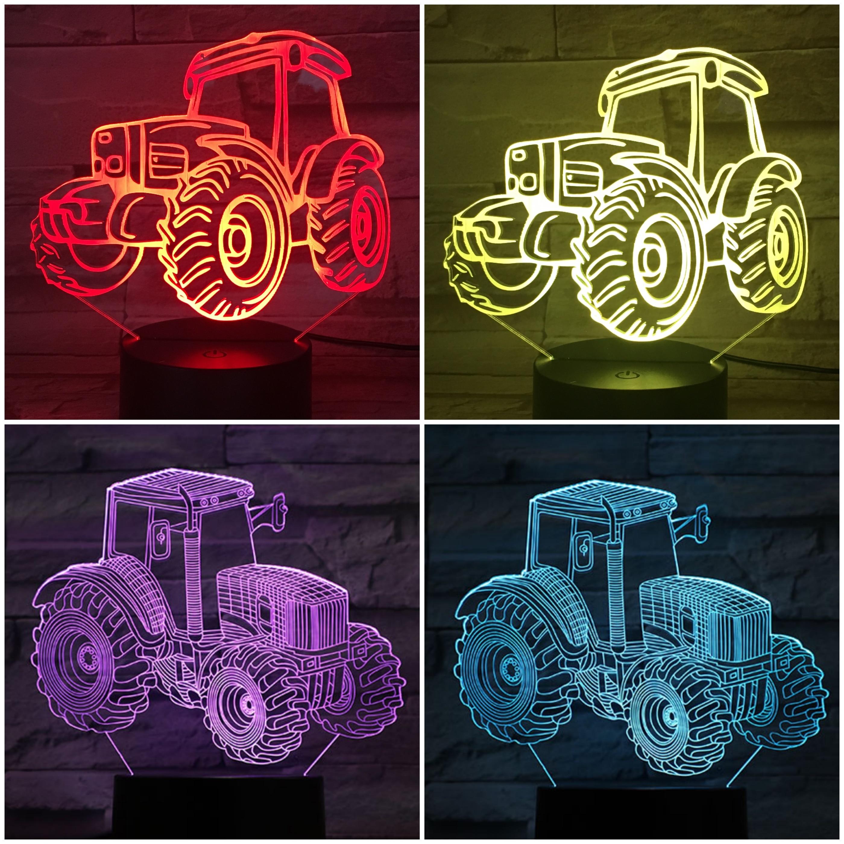 Tractor Night Light LED 3D Illusion Lampara Led Gradient NightLight Visual Decorative Lights Children Kids Gift Night Lamp Neon