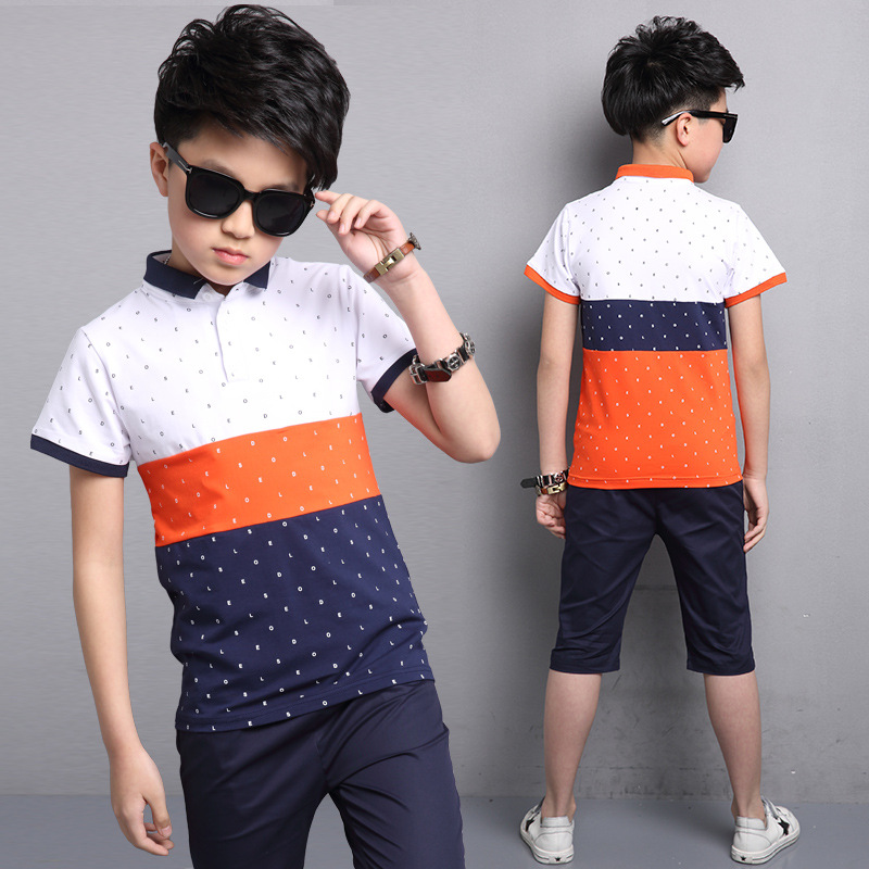 Children's Kids Boys Summer Cotton Polo Short Sleeve T shirt And Shorts Two 2 piece Set Suits For Teens Boys Clothing Sets New 4 new balance little boys property of graphic t shirt and mesh short set