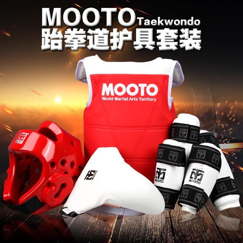 2017 MOOTO Taekwondo protecteurs WTF 6 pcs coquille poitrine avant-bras shin protecteur support Épargnant vitesse Karaté Casque ensemble complet