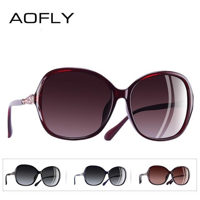 AOFLY BRAND DESIGN Classic Polarized Sunglasses Women Oversized Frame Gradient Lens Rhinestone Sunglasses A102 3