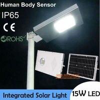 Comprar Luz de carretera de 15 W Solar LED, lámpara de inducción Solar, panel Solar de 30 w con batería de 12 Ah todo en uno, luz Solar LED al aire libre impermeable