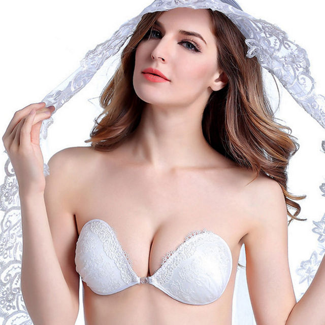 b1086cd1e3 1 pc Lingerie Lite Shaping Front Snap Strapless Invisible Push Up Adhesive  Bra Backless NuBra Seamless