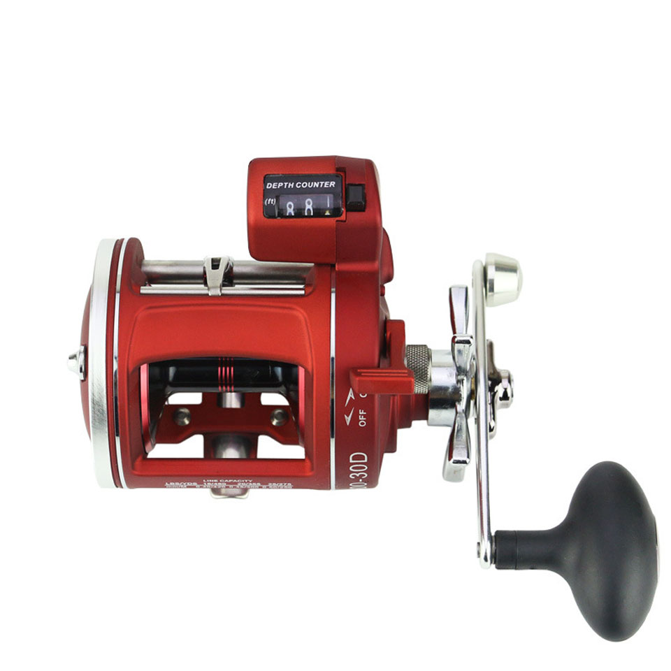 WALK FISH Full metal Red Right Hand Bait Casting Fishing Reel with Counter 12BB High-strength Body Cast Drum Wheel