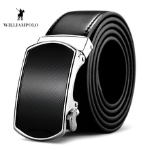Williampolo Fashion 100% Leather Mens Belt Luxury Brand High Quality Metal Automatic Buckle Black PL040P