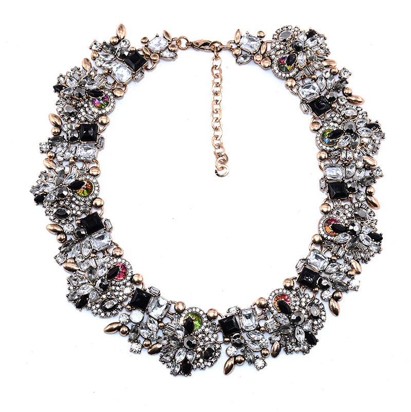 PPG&PGG Luxury Brand Bijoux Rhinestone Choker Collar Maxi Necklace Full Crystal Chocker Statement Jewelry For Women