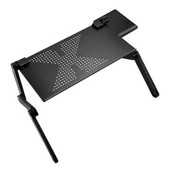 Portable Foldable Adjustable Laptop Desk Computer Table Stand Tray For Sofa Bed Black - Category 🛒 Furniture