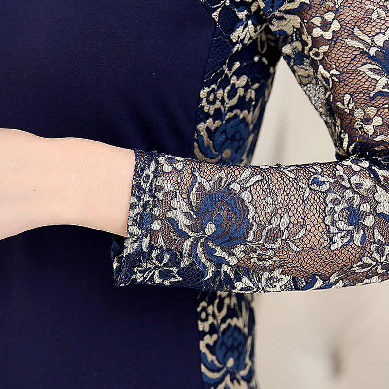 2015 אאטאם חורף נשים של תחרה חולצה חולצות בתוספת גודל גבירותיי ארוך שרוול slim תחרה כותנה טלאים חולצות לנשים 160F 20