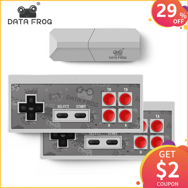 Data Frog New Video TV Game Console 8 Bit Built-in Real 600 Classic Retro Games Potable Mini Wireless Controller AV Output
