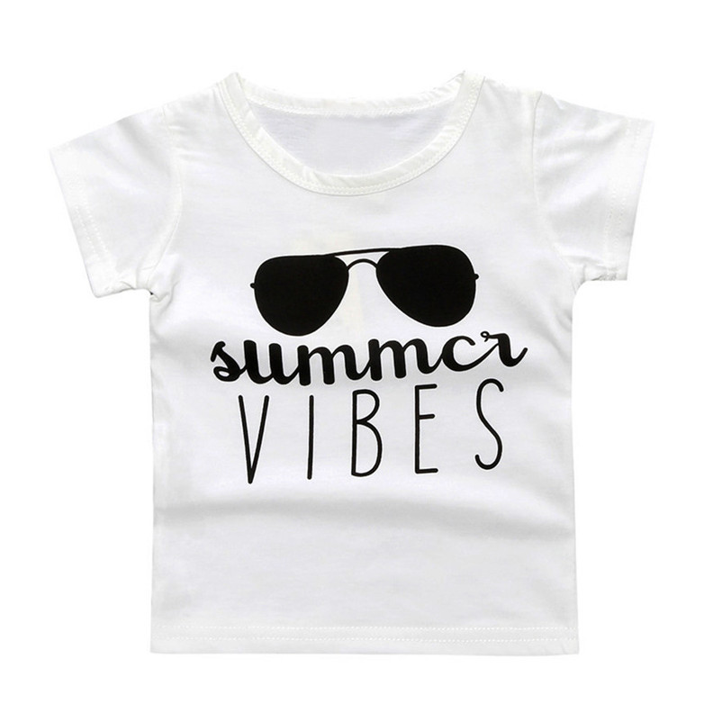 2018 Cute Fashion Children Infant Kids Baby Boy Girl Short Sleeve Letter Print T-shirt Tops Outfits Clothes Children Clothing P6