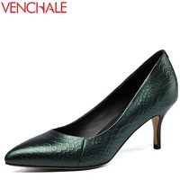 VENCHALE Newest Classical Convenient All Match Style Woman Pumps High Thin Heels Pointed Toe Genuine Leather