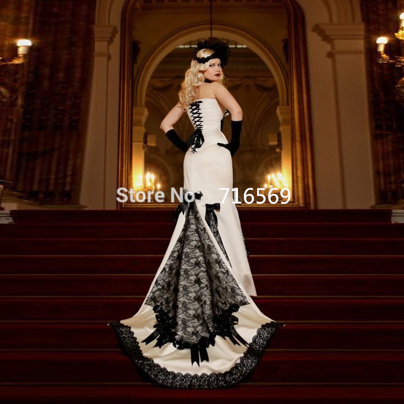 Bruidsjurk Black Lace Mermaid Gothic Wedding Dresses 2017 Vintage ...