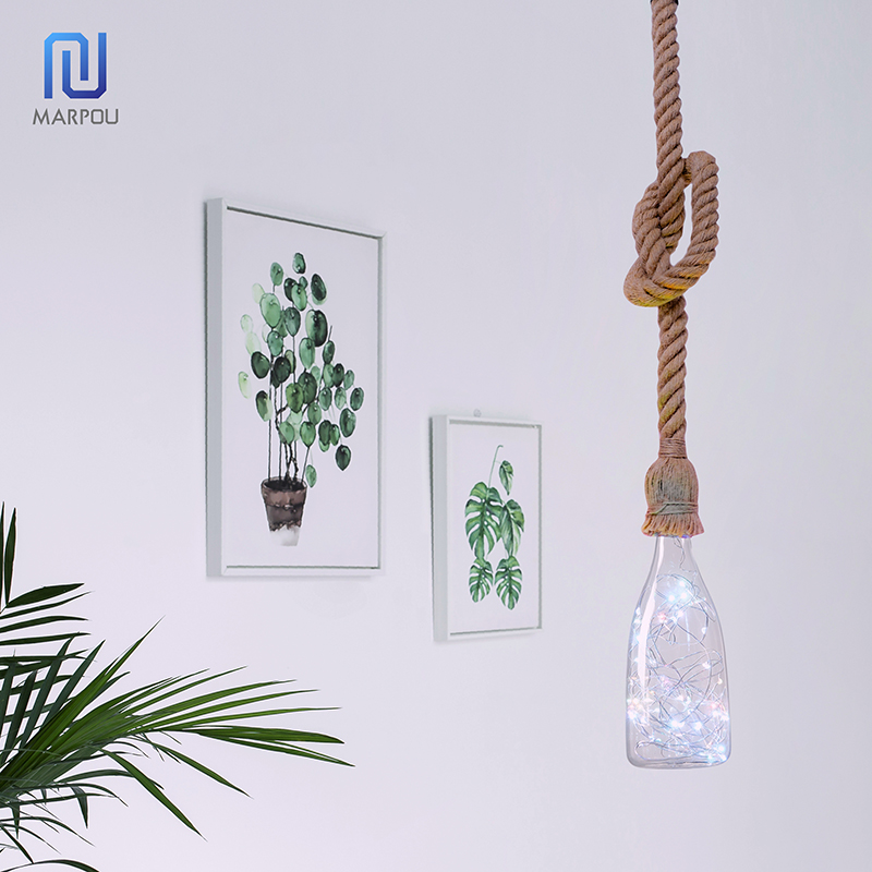 Vintage Hemp Rope Pendant Light Holder 1M 1.5M 2M AC265V E27 Loft Creative Personality Industrial Pendant Lamp Base Decoration